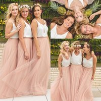 Country Wedding Boho Bridesmaid Dresses Blush Tulle V Neck 2...