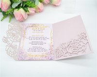 New Color Light Purple Laser Cut Tri- Folded Wedding Invitati...
