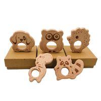 طفل خشبي عضاضة الطبيعة الطبيعة التمريض الطفل الخشب التسنين لعبة الخشب البومة الكلب القنفذ الشكل sاعة مضغ قلادة diy الملحقات
