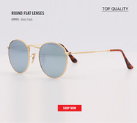 Newest top quality Men women flash round flat lens Sunglasse...