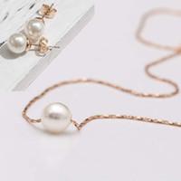 2015 Ny Mini Pearl Pendant Halsband och Earrring för kvinnor, 18K guldpläterade kedjor halsband och örhänge, mode smycken,