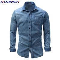 NORMEN 남성용 패션 데님 셔츠 Full Sleeve Solid 캐주얼상의 남성용 셔츠 Streetwear EUR 사이즈 camisa social masculina