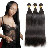 Droit brésilien Bundles 1 Pc / lot de cheveux bon marché des extensions naturelles Noir Indien Malais péruvienne Kinky droite Weave Raw Virgin Hair