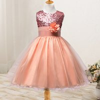 2018 Summer New Cute Jewel Neck Sequin Princess Girl Dress S...