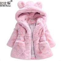 2017 Winter warm Baby Girls Waist Outerwear Children Faux Fur  ears Coat kids Jacket Christmas Snowsuit Outerwear child