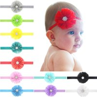 chiffon flower elastic headbands baby girls hair bows with d...