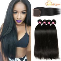 Straight Lace Closure With Hair Bundles 8A Peruvian Virgin H...