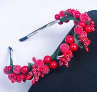 Enfants femmes rouge berry cheveux de fée bâtons bandeau enfants fête de noël cerise tête bande guirlande guirlande boho couvre-chefs décor artificiel