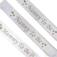 Mama Mama zu sein Kindermädchen zu sein weiß Satin Schärpe Banner Footprint Baby Shower Party Supplies Schärpe