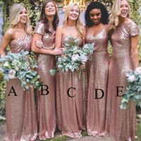 Дешевые розовое золото невесты платья Длинные спагетти Backless Блестки Long Beach Страна Свадьба Порыв платье горничной честь халатов Настраиваемый