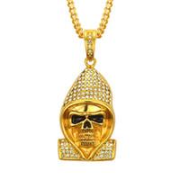 Collana di ciondolo scheletro ecologico di alta qualità miglior prezzo in lega di oro placcato in argento esagera uomini collana di cristallo diamante hiphop rap