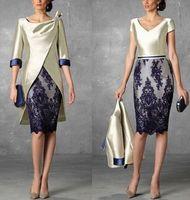 WAISHIDRESS Zwei Teile Kurze Mutter der Brautkleider mit Jacke 1/2 Ärmeln Lace Appliques Hülle Abendkleider