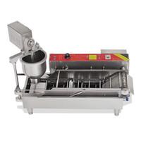 التلقائي آلة صانع دونات الكهربائية آلة الشعبية دونات صانع التجاري الكعك صنع آلة الفولاذ المقاوم للصدأ مع 3 قوالب