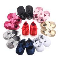 حذاء طفل الفتيات أول مشوا الوليد الدانتيل القوس عقدة الصلبة بلينغ الطفل الصغار أحذية الأطفال