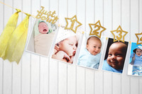 1st Birtyday Glitter Photo Garland Un año Girl Boy Milestone Photo Props Bandera Foto mensual Banner Baby Just Born Party Favor