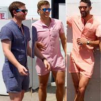 Summer Men Romper Track Suit Short Sleeve Shirts Jumpsuit Men Set Casual Single Breasted Male Romper Green Orange