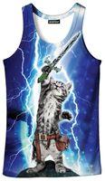 3d Tank tops yaz yelek Erkekler / kadınlar Baskı Kaya kedi tees gömlek Fanilalar erkek Hip Hop Yelekler Casual Kolsuz Üst