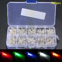 300Pcs 3mm LED Diodi Assortimento Rotondo Trasparente LED Ultra Luminoso a Diodi Luminescenti Lampada 5 Colori Bianco Giallo Rosso Blu Verde