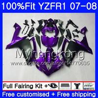 Cuerpo de inyección para YAMAHA YZF R 1 YZF-1000 YZF-R1 07 08 227HM.35 YZF 1000 YZFR1 Purple black hot 07 08 YZF1000 YZF R1 2007 2008 Fairing Kit