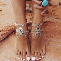 Vintage Silber Farbe Knöchel Armband Fuß Schmuck Barfuß Sandalen Fußkettchen für Frauen Bijoux