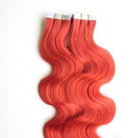 """Ruban Rouge Extensions de Cheveux 12 """"14"""" 16 """"18"""" 20 """"22"""" 24 """"26"""" PU Tissu Trame 100g 40pcs / Set Bande de Vague de Corps dans les Extensions de Cheveux Humains Double Drawn"""