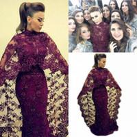 Yousef Aljasmi Mode Robe de Soirée Musulmane Col Haut Sirène Longueur totale Dentelle Perlée Brillante Abaya Robes Formelles avec Cape