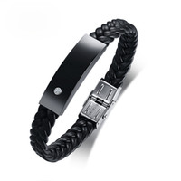 Wholesale Black Luxury Microfiber Leather Bracelets For Men ...