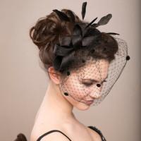 Amandabridal Schwarze Feder Hochzeit Hüte Für Bräute Frauen Tüll Birdcage Veil Brautmützen Kopfschmuck Braut Zubehör