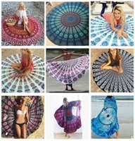 Mandala Round Unicorn Beach Towel Indian Blanket Bohemian Ta...