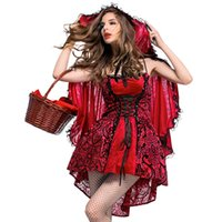 Fantasias Adult Women Carnival Halloween Party Costume Fiaba Little Red Riding Hood Cosplay Dress con cappuccio Mantello taglia S-XL
