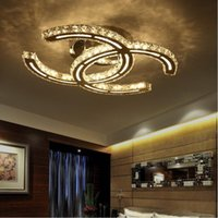 modern led ceiling lights for living room bedroom Crystal Ch...