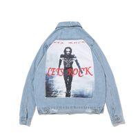 Мужские куртки джинсовая куртка отверстие в Хай-стрит символов печатных кардиган