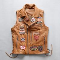 2 цвета AVIREXFLY AIRBORNE натуральная кожа жилет аппликация диагональной молнии отворотом шеи мужчины кожаные куртки с рукавов