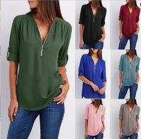 Frauen Chiffon Bluse Shirts Reißverschluss V-ausschnitt Plissee Lose Beiläufig Plus Größe S-5XL Europäischen Sommer Halbe Hülse Mode Tops