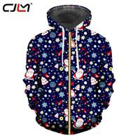 CJLM 새 목록 Chistmas 남성 지퍼 후드 3D 인쇄 사랑스러운 산타 클로스 지퍼 스웨터 컬러 하라주쿠 의류