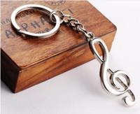 200PCS / lot حار بيع جديد حلقة رئيسية مفتاح سلسلة من الفضة مطلي سلسلة المفاتيح مذكرة الموسيقية لسلاسل المفاتيح رمز الموسيقى سيارة معدنية