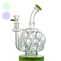 Wholesale DHL Purple Bongs Heavy Recycler Water Pipe Glass W...