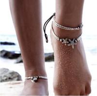 Bohemian kadın moda takı bilezikler halhal yıldız om yoga kolye halhal halat zincir ayak bileği denizyıldızı halhal