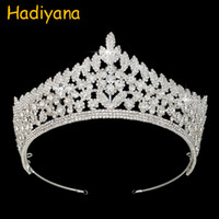 Hadiyana Fine CZ Zircon Copper Crowns Sparkling Luxury Wedding Wedding Crown nupcial Para La Princesa Del Encanto Tiaras Regalo BC3844