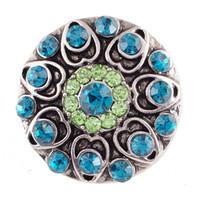 5pcs / lot intercambiable Ronda Snap joyería cristalina del metal 18mm Snap Botones para el botón de la pulsera del brazalete