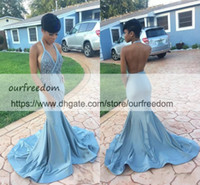 2018 Sexy African Black Girl Prom Dresses Backless Halter Me...