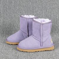 Fornitura di goccia stivali ragazze dei bambini di modo inverno neve scarpe calde top stivali di pelliccia di qualità originale della pelle dimensioni euro 21-35