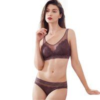 b3c0068584 wholesale bra and panties sets seamless black white wireless lace women  lingerie elegant yarn