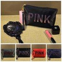 Pink Letter Sequins Cosmetic Bag Sequin Bling Travel Makeup ...