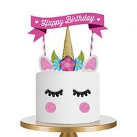 كعكة أداة ديكور لطيف diy اليدوية يونيكورن الأطفال كعك عيد إمداد عيد ميلاد سعيد شمعة حزب الزفاف الديكور الخبز