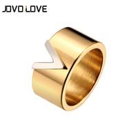 Moda V forma de aço inoxidável anéis para mulheres Presente de casamento de alta polida cor ouro anéis tamanho feminino 6 a 10