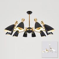Delightfull Duke Nordic Altın Siyah LED Sarkıt Işık Mesaj Modern Şık Yaratıcı Fuaye Oturma Yemek Odası