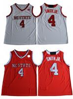 NCAA College Wolfpack 4 # Dennis Smith Junior College Jersey Rouge Blanc # 4 Dennis Smith Jr. Université Cousu Maillots Pas Cher