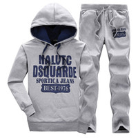 Letter Printed Casual Hoodies Suits Men Autumn Fall 2 Piece ...