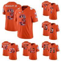 Factory Outlet Günstige Herren Clemson Tigers 3 Beasley Jr 7 Williams 9 Gallman II 15 Grün Orange Gedruckt Beste Qualität College Football Trikots